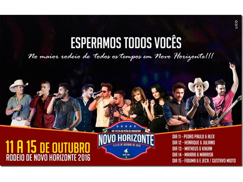 FESTA DO PEÃO DE NOVO HORIZONTE VAI DE 11 A 15 DE OUTUBRO - Eloisa Mattos